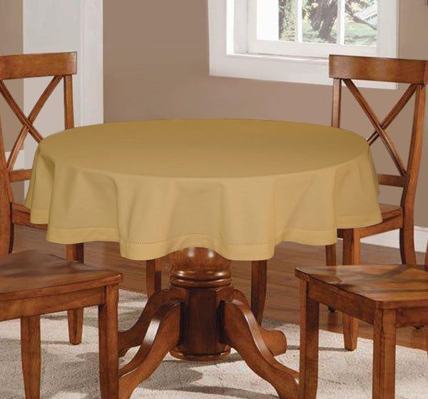 Lushomes Plain Sand Round Table Cloth - 6 seater - Lushomes