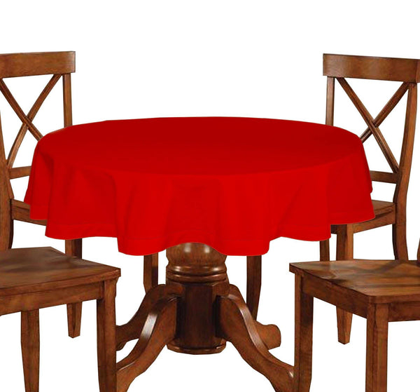 Lushomes Plain Tomato Round Table Cloth - 6 seater - Lushomes