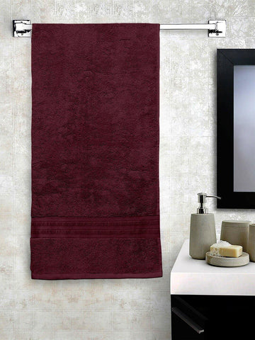 Lushomes Maroon Hammam Bath Turkish Cotton Terry Towels GSM 550 GSM (30 x 60 inches) - Lushomes