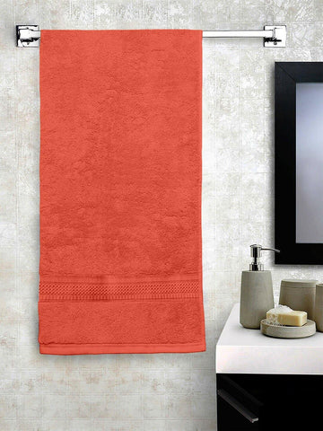 "Lushomes Tomato Red Hammam Bath Turkish Economy Cotton Terry Towels GSM 400 GSM (Size 27 x 55"", Single Pc) - Lushomes"