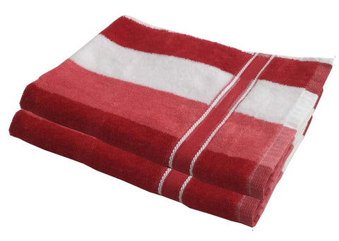 Lushomes Red Thick Stripes Cotton Hand Towel Set (40 x 60 Cms, Pack of 2 pcs) - Lushomes