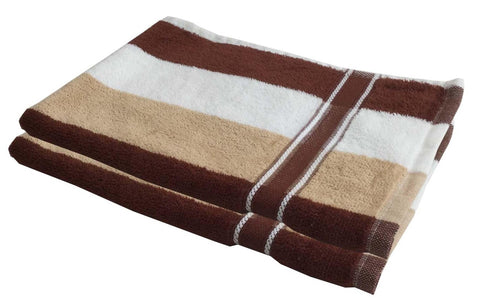 Lushomes Cotton Thick Stripes Brown Hand Towel (Pack of 2 pcs) - Lushomes