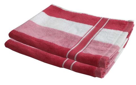 Lushomes Pink Thick Stripes Cotton Hand Towel Set (40 x 60 Cms, Pack of 2 pcs) - Lushomes