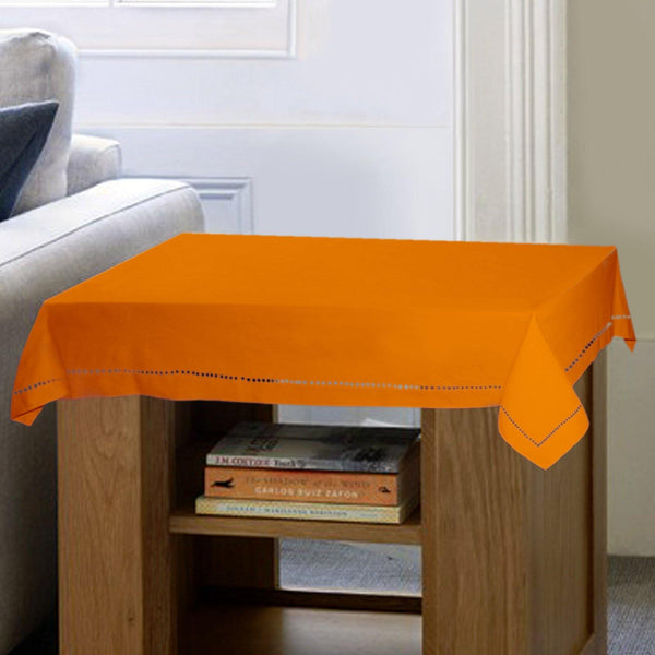 Lushomes Plain Sun Orange Button Side Table Cloth - Lushomes