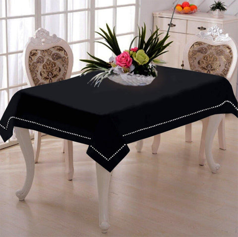 Lushomes Pirate Black Premium Side Cotton Table Cloth with Ladder Lace (Size 100 x 100 cms, Single Pc) - Lushomes