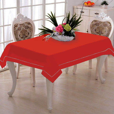 Lushomes Red Wood Premium Side Cotton Table Cloth with Ladder Lace (Size 100 x 100 cms, Single Pc)