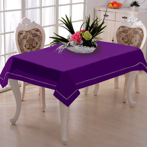 Lushomes Royal Lilac Premium Side Cotton Table Cloth with Ladder Lace (Size 100 x 100 cms, Single Pc) - Lushomes