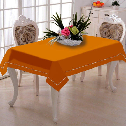Lushomes Sun Orange Premium Side Cotton Table Cloth with Ladder Lace (Size 100 x 100 cms, Single Pc) - Lushomes