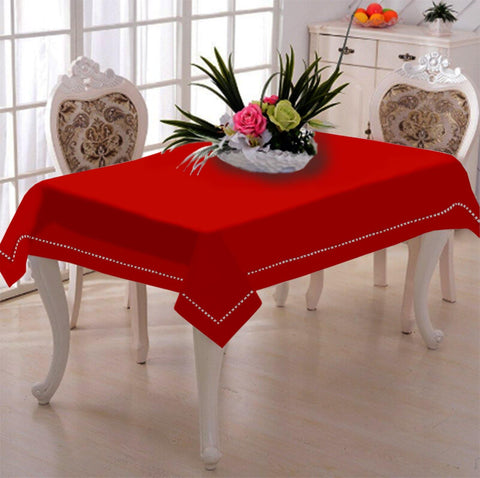 Lushomes Red Premium Side Cotton Table Cloth with Ladder Lace (Size 100 x 100 cms, Single Pc) - Lushomes