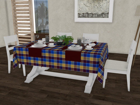 "Sunshine checkered gingham 100% Cotton Dinning 6 seater Rectangle Table Cloth (58 x 90"", Single Pc) - Lushomes"