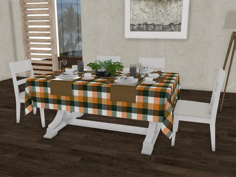 "Pasture checkered gingham 100% Cotton Dinning 6 seater Rectangle Table Cloth (58 x 90"", Single Pc) - Lushomes"