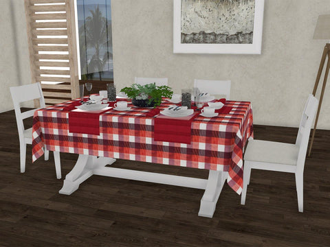"Tangerine checkered gingham 100% Cotton Dinning 6 seater Rectangle Table Cloth (58 x 90"", Single Pc) - Lushomes"