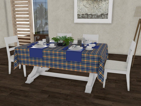 "Classic checkered gingham 100% Cotton Dinning 6 seater Rectangle Table Cloth (58 x 90"", Single Pc) - Lushomes"