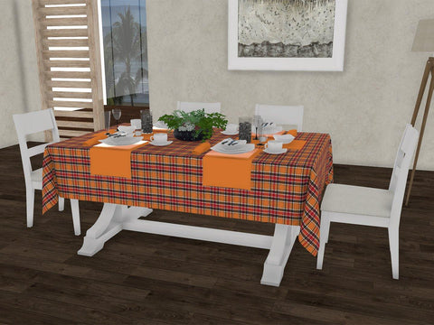 "Pristine checkered gingham 100% Cotton Dinning 6 seater Rectangle Table Cloth (58 x 90"", Single Pc) - Lushomes"