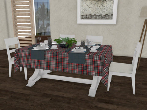 "Schook checkered gingham 100% Cotton Dinning 6 seater Rectangle Table Cloth (58 x 90"", Single Pc) - Lushomes"