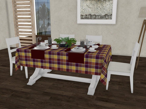 "Essential checkered gingham 100% Cotton Dinning 6 seater Rectangle Table Cloth (58 x 90"", Single Pc) - Lushomes"