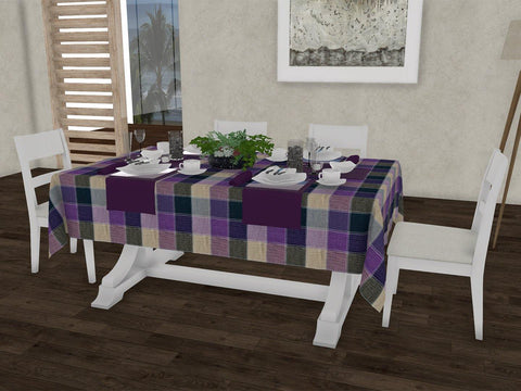 "Lavender checkered gingham 100% Cotton Dinning 6 seater Rectangle Table Cloth (58 x 90"", Single Pc) - Lushomes"