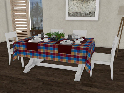 "Basic checkered gingham 100% Cotton Dinning 6 seater Rectangle Table Cloth (58 x 90"", Single Pc) - Lushomes"