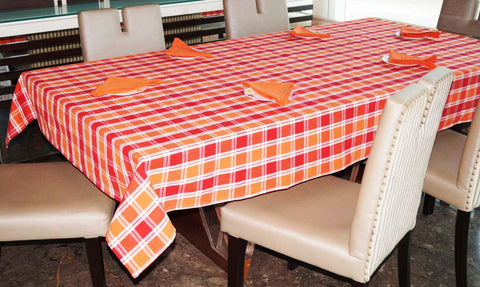 Lushomes Yarn Dyed Orange and Red Checks 6 seater Table cloth & 6 pcs Napkin Set - Lushomes