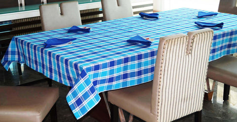 Lushomes Yarn Dyed Blue Checks 6 seater Table cloth & 6 pcs Napkins Set - Lushomes