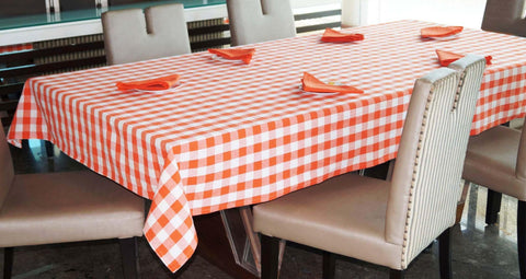 Lushomes Yarn Dyed Orange Checks 6 seater Table cloth & 6 pcs Napkins Set - Lushomes