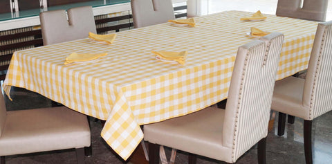Lushomes Yarn Dyed Yellow Checks 6 seater Table cloth & Napkins Set - Lushomes