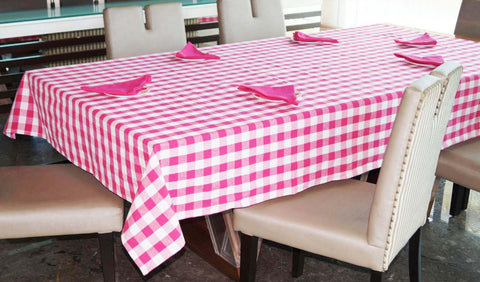 Lushomes Yarn Dyed Lilac Checks 6 seater Table cloth & Napkins Set - Lushomes
