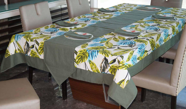 Lushomes Forest Printed 6 Seater Regular Table Linen Set - Lushomes