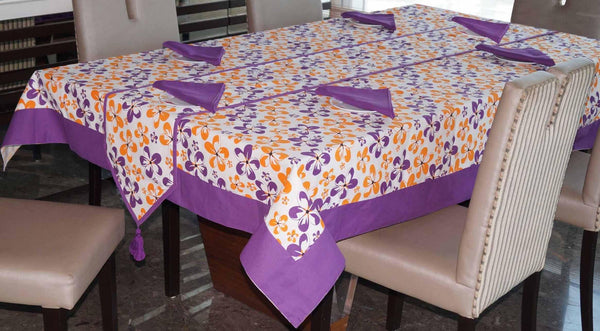 Lushomes Shadow Printed 6 Seater Small Table Linen Set - Lushomes