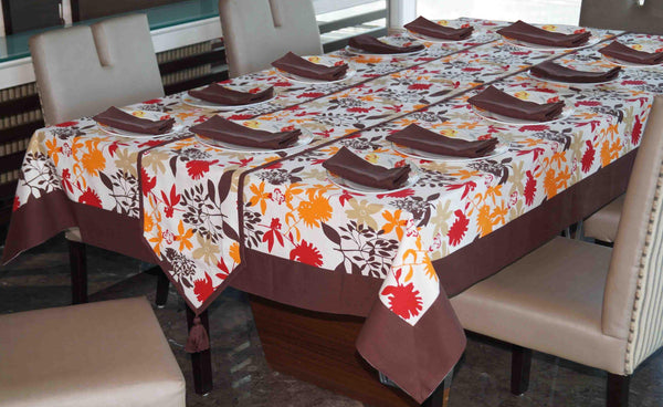 Lushomes Leaf Printed 12 Seater Table Linen Set - Lushomes