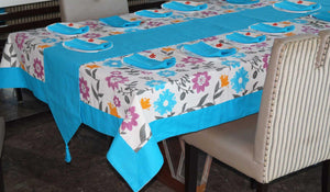 Lushomes Flower Printed 12 Seater Table Linen Set - Lushomes