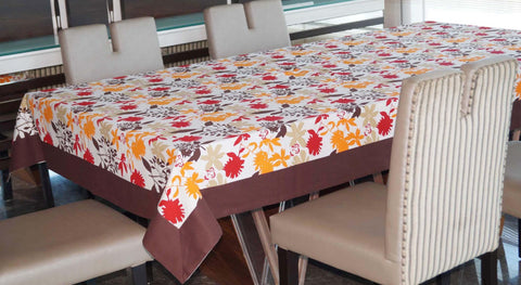 Lushomes 12 Seater Leaf Printed Table Cloth - Lushomes