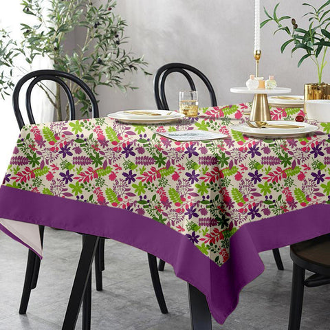 Lushomes 4 Seater Purple Printed Table Cloth
