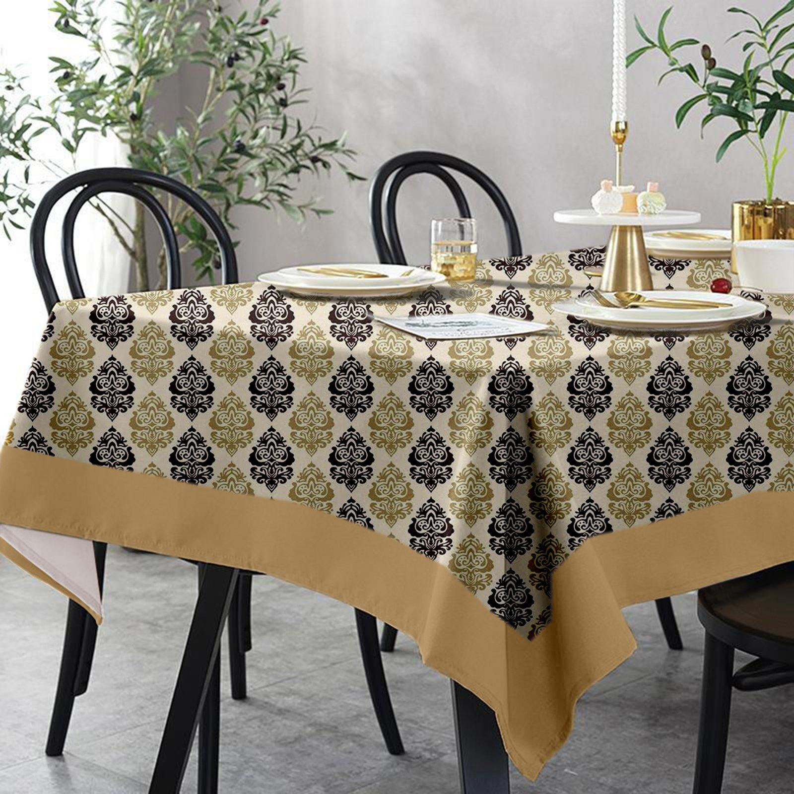 Lushomes 6 Seater Small Earth Printed Table Cloth