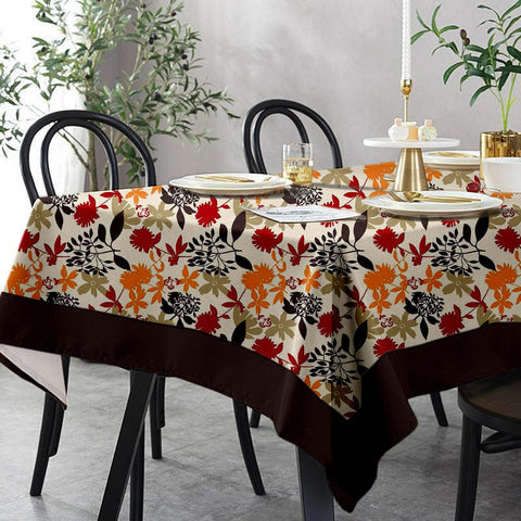 Lushomes 8 Seater Leaf Printed Table Cloth