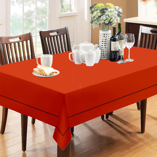 Lushomes Plain Red Wood Holestitch Cotton for 12 Seater Orange Table Covers