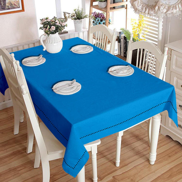 Lushomes Plain Bachelor Button Holestitch Cotton for 4 Seater Blue Table Covers