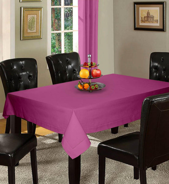 Lushomes Plain Bordeaux Holestitch Cotton for 4 Seater Purple Table Covers - Lushomes