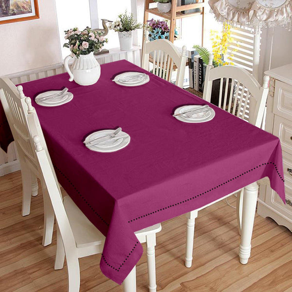 Lushomes Plain Bordeaux Holestitch Cotton for 4 Seater Purple Table Covers
