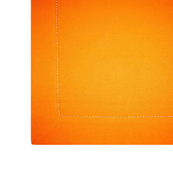 Lushomes Plain Sun Orange Holestitch Cotton for 4 Seater Orange Table Covers - Lushomes