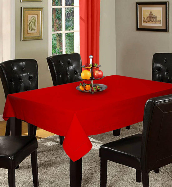 Lushomes Plain Tomato Holestitch Cotton for 4 Seater Red Table Covers - Lushomes