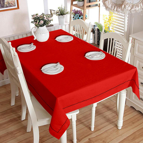 Lushomes Plain Tomato Holestitch Cotton for 4 Seater Red Table Covers