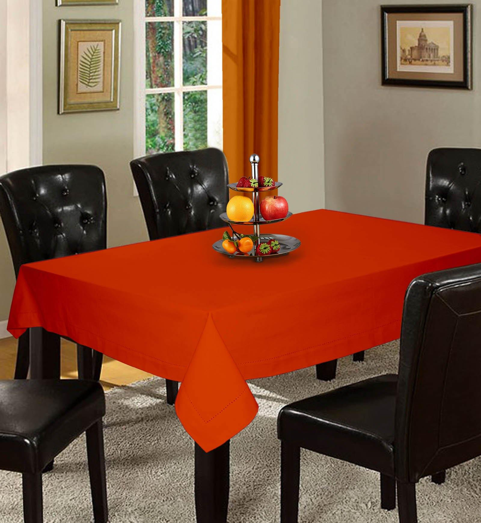 Lushomes Plain Red Wood Holestitch Cotton for 6 Seater Orange Table Covers - Lushomes