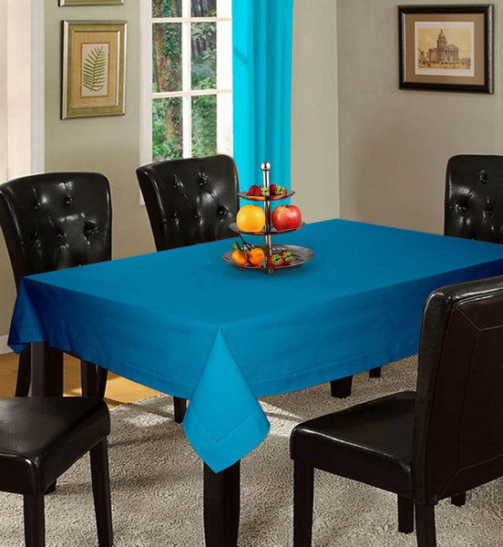 Lushomes Plain Bachelor Button Holestitch Cotton for 8 Seater Blue Table Covers - Lushomes