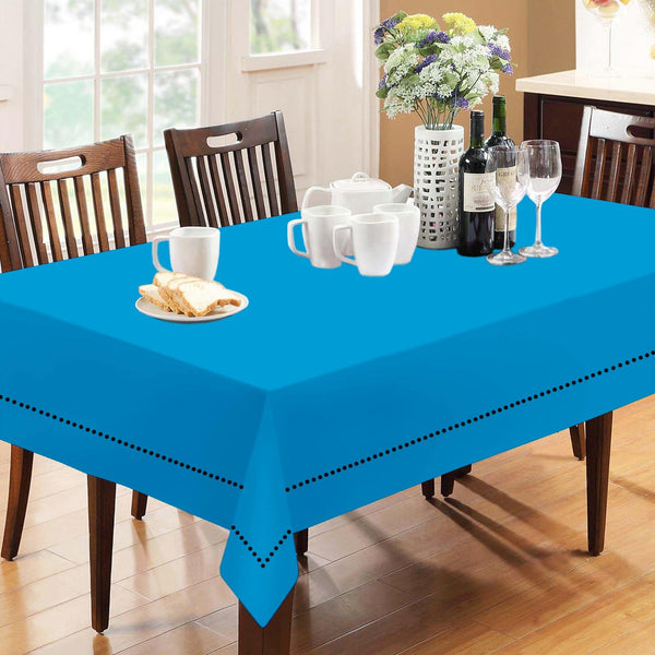 Lushomes Plain Bachelor Button Holestitch Cotton for 8 Seater Blue Table Covers