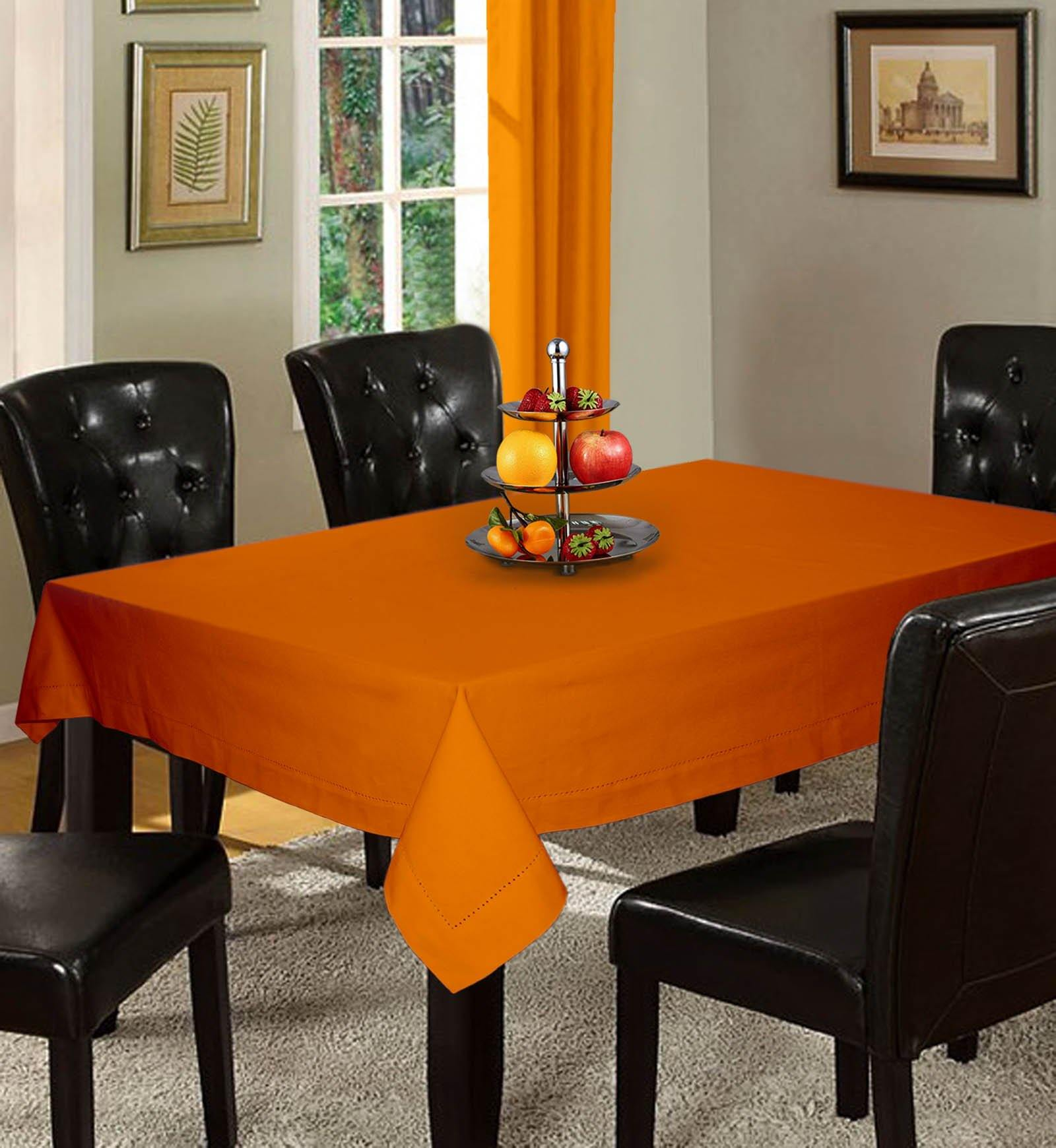 Lushomes Plain Sun Orange Holestitch Cotton for 8 Seater Orange Table Covers - Lushomes