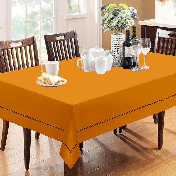 Lushomes Plain Sun Orange Holestitch Cotton for 8 Seater Orange Table Covers