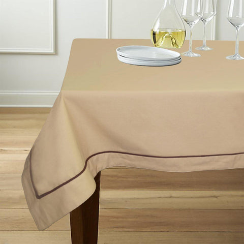 "Lushomes 6 Seater Beige Table Cloth with Brown contrasting cord piping (Size: 60""x90"") - Lushomes"
