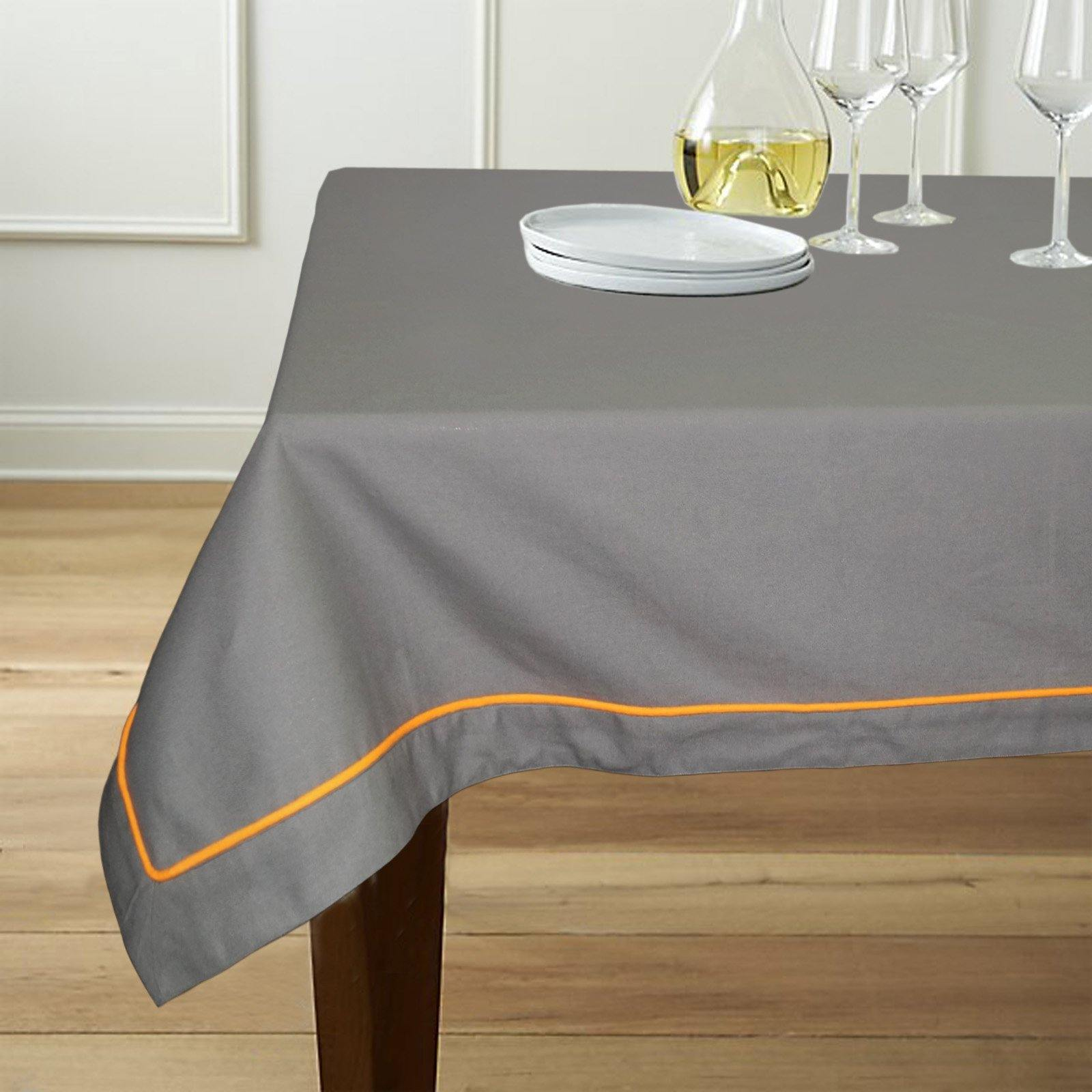 "Lushomes 6 Seater Grey Table Cloth with Orange contrasting cord piping (Size: 60""x90"") - Lushomes"