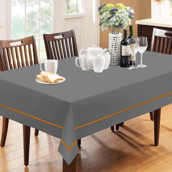 "Lushomes 6 Seater Grey Table Cloth with Orange contrasting cord piping (Size: 60""x90"")"
